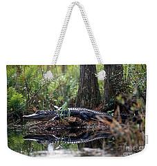 Alligator In Okefenokee Swamp Weekender Tote Bag by William H. Mullins