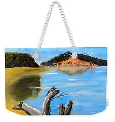 Weekender Tote Bag featuring the painting Allonah Beach Tasmania by Pamela  Meredith