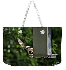 Weekender Tote Bag featuring the photograph Almost A Ruff Bird Landing by Thomas Woolworth