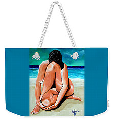 Weekender Tote Bag featuring the painting Alone With My Thoughts by Jackie Carpenter