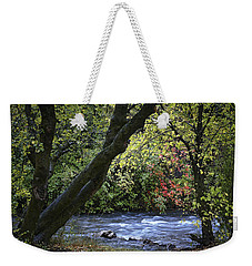 Weekender Tote Bag featuring the photograph Along Swift Waters by Priscilla Burgers