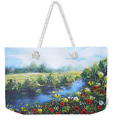 Weekender Tote Bag featuring the painting Along The Poppy Valley by Vesna Martinjak