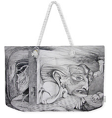 Weekender Tote Bag featuring the drawing Alpha And Omega - The Reconstruction Of Bogomils Universe by Otto Rapp