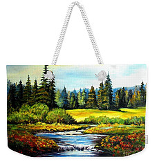 Weekender Tote Bag featuring the painting Alpine Meadow by Hazel Holland
