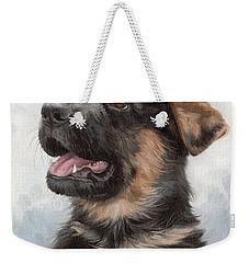 Alsatian Puppy Painting Weekender Tote Bag by Rachel Stribbling