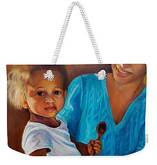 Weekender Tote Bag featuring the painting Always In Her Heart And In Her Hands by Marlene Book