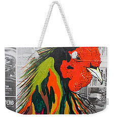 Weekender Tote Bag featuring the painting Amadeo The Tuscan Rooster by Janice Rae Pariza