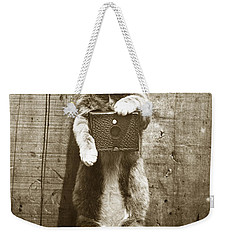 Weekender Tote Bag featuring the photograph Amateur Feline Fotografer Cat With A Box Camera  Historical Photo 1900 by California Views Mr Pat Hathaway Archives