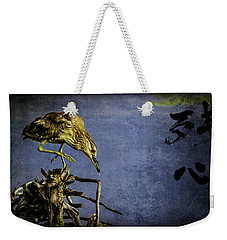 American Bittern With Brush Calligraphy Lingering Mind Weekender Tote Bag by Peter v Quenter