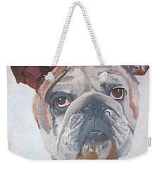 Weekender Tote Bag featuring the painting American Bulldog Pet Portrait by Tracey Harrington-Simpson