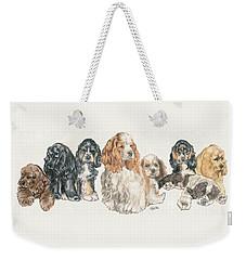 American Cocker Spaniel Puppies Weekender Tote Bag by Barbara Keith
