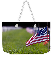 Weekender Tote Bag featuring the photograph American Flag by Jerry Gammon