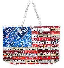 American Flag Recycled License Plate Art Weekender Tote Bag