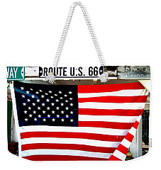 American Flag Route 66 Weekender Tote Bag