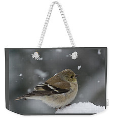 American Goldfinch In Winter Weekender Tote Bag