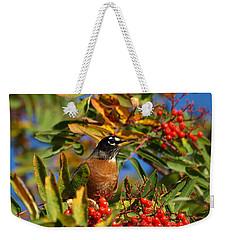 American Robin Weekender Tote Bag by James Peterson