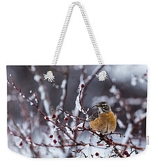 Weekender Tote Bag featuring the photograph American Robin by Michael Chatt