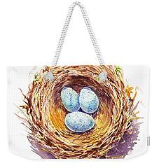 American Robin Nest Weekender Tote Bag by Irina Sztukowski