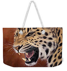 Amur Leopard Painting Weekender Tote Bag by Rachel Stribbling