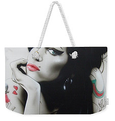 Amy Winehouse - ' Amy Your Music Will Echo Forever ' Weekender Tote Bag by Christian Chapman Art