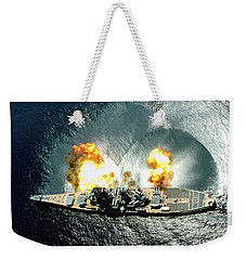 An Overhead View Of The Battleship Uss Iowa Bb61 Firing All 15 Of Its Guns Weekender Tote Bag