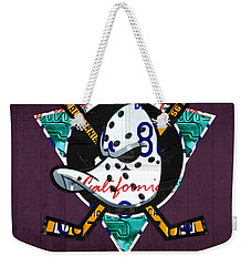 Anaheim Ducks Hockey Team Retro Logo Vintage Recycled California License Plate Art Weekender Tote Bag by Design Turnpike