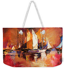 Anchored At Sunset Weekender Tote Bag