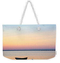 Weekender Tote Bag featuring the photograph Anchored At Sunset by Kennerth and Birgitta Kullman