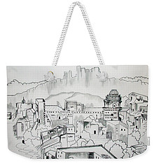 Weekender Tote Bag featuring the drawing Ancient City In Pen And Ink by Janice Rae Pariza