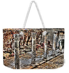 Weekender Tote Bag featuring the photograph Ancient Roman Columns In Israel by Doc Braham
