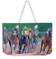 And Down The Stretch They Com Weekender Tote Bag