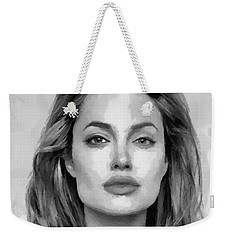Angelina Jolie Black And White Weekender Tote Bag