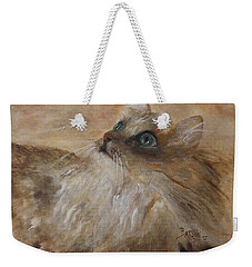 Weekender Tote Bag featuring the painting Watching A Butterfly by Barbie Batson