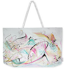 Weekender Tote Bag featuring the painting Angels Arriving by Asha Carolyn Young