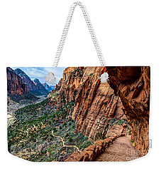 Angels Landing Trail From High Above Zion Canyon Floor Weekender Tote Bag