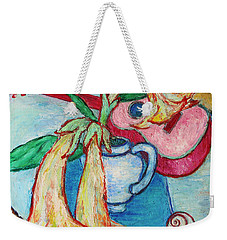 Weekender Tote Bag featuring the painting Angel's Trumpet Flowers And A Ukulele by Xueling Zou