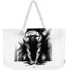 Weekender Tote Bag featuring the drawing Anger by Paul Davenport