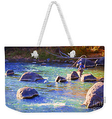 Animas River Fly Fishing Weekender Tote Bag by Janice Rae Pariza