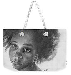Weekender Tote Bag featuring the drawing Anna by Paul Davenport