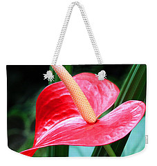 Weekender Tote Bag featuring the photograph Anthurium by Mariarosa Rockefeller
