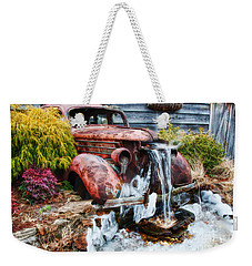 Antique Car Water Fountain Columbus Georgia Weekender Tote Bag by Vizual Studio