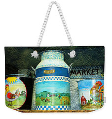 Weekender Tote Bag featuring the photograph Antique Dairy Milk Can And Pails by Judy Palkimas