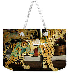 Weekender Tote Bag featuring the photograph Antique Dentzel Menagerie Carousel Tiger by Rose Santuci-Sofranko