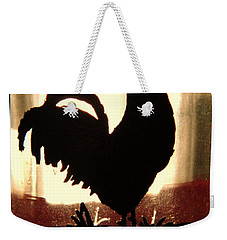 Antique Glass Chicken Silhouette Weekender Tote Bag by Kathy Barney