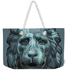 Antique Lion Face In Blue Weekender Tote Bag by Jane McIlroy