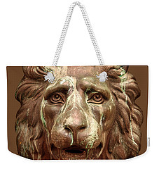 Antique Lion Face In Brown Weekender Tote Bag by Jane McIlroy