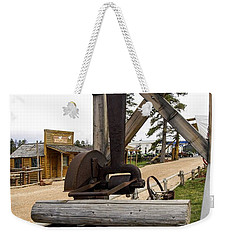 Weekender Tote Bag featuring the photograph Antique Table Saw Tool Wood Cutting Machine by Paul Fearn