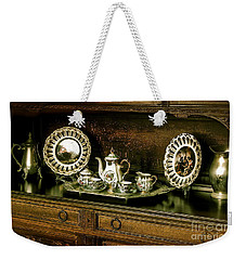 Weekender Tote Bag featuring the photograph Antique Tea Set by The Art of Alice Terrill