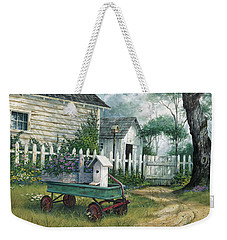 Weekender Tote Bag featuring the painting Antique Wagon by Michael Humphries