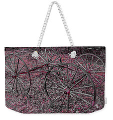 Weekender Tote Bag featuring the photograph Antique Wagon Wheels by Sherman Perry